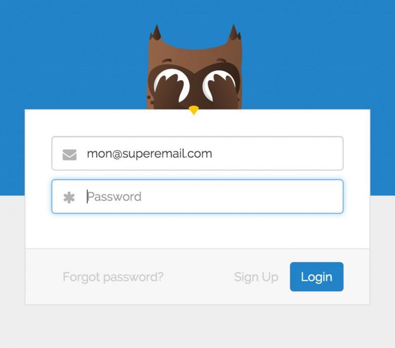 La mascotte du site se cache les yeux lors de la saisie du mot de passe